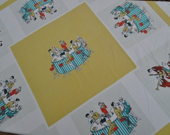 Vintage French Table Cloth - Retro Design - 1950s/60s