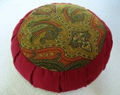 Meditation cushion Paisley design with dark red burgundy sides and back.