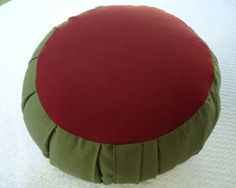 Meditation cushion, maroon and sage green, all cotton fabric, filled with Buckwheat hulls