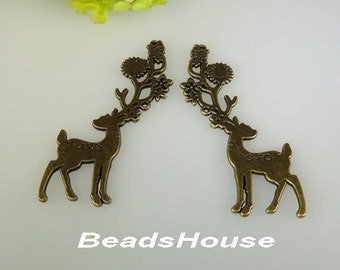 2 pcs Antique Bronze Huge Unique Deer Charm / Pendant,20x70mm
