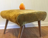 AVOCADO CRUSHED VELVET Footstool Ottman Hassock Mid Century Modern Stool  Bench at Modern Logic