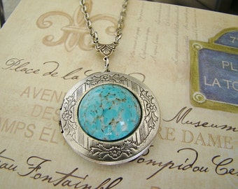Silver Locket Necklace Wedding Anniversary Bride Bridesmaid Turquoise Birthstone Gift Mother Sister Wife Anniversary Photo Pictures - Vangie