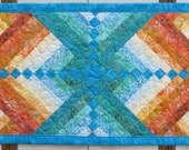 Fire and Ice Quilted Batik Table Runner Orange to Aqua French Braid Quilt