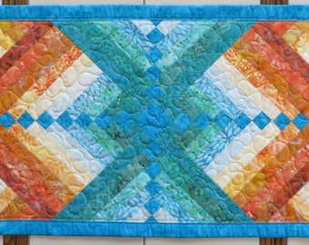Fire and Ice Quilted Batik Table Runner Turquoise Orange to Aqua French Braid Quilt