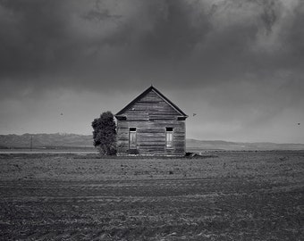 Old Barn Photograph in Black and White, Farm Art