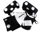 Fleece Crutch Pads | White Bold Dots on Black or Navy Bounce Back Crutch Waraps | Crutch Cover | Crutch Tote Bag |  Cast Sock Toe Bootie