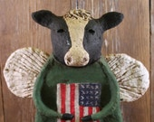 Primitive Americana COW ANGEL, OOAK, hand-sculpted from papier mache, Cow with American Flag