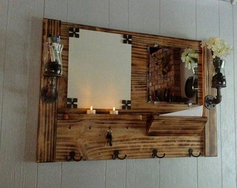 entryway mirror with hooks and shelf entry by. Black Bedroom Furniture Sets. Home Design Ideas