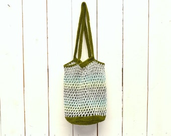25% OFF - Crochet Bag - Crochet Tote - Market Tote - Shopping Tote - Open Weave Color Block Double Handle Bag