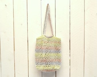 25% OFF - Crochet Tote Bag - Market Tote - Shopping Bag - Double Strap Open Weave Rainbow Striped Bag