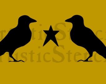 STENCIL Primitive Crows and Star 12x4.6