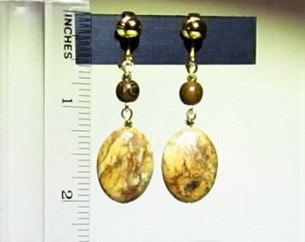 Picture Jasper Earrings Clip or Pierced
