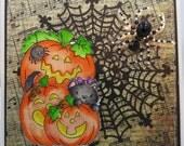 Handmade Card, Greetings, Gift, Fall, Spooky Halloween Pumpkin Trio - Handmade Watercolored Greeting Card