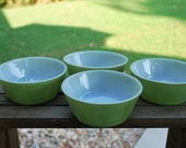 Set of Four Mid Century Anchor Hocking Fire King Avocado Green Bowls.