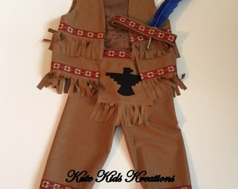 Boy's Native American Indian Costume, Size 3T, Ready to Ship