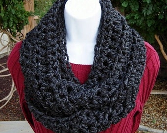 INFINITY SCARF Loop Cowl, Dark Charcoal Grey Gray Black, Soft Wool Blend Lightweight Winter Circle, Neck Warmer..Ready to Ship in 2 Days