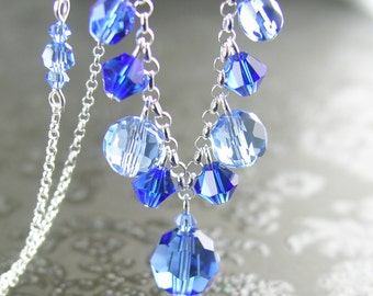 Swarovski Sapphire Blue Crystal Necklace Sterling Silver Chain Beaded Necklace September Birthstone Crystal Blue Sapphire Necklace