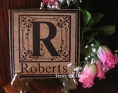 "6"" x 6"" Monogrammed Stone Tile w/Vinyl Lettering - Great Wedding Gift - Home Decor"