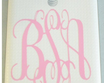 iPhone Monogram Decal - Vinyl Decals - iPhone - Personalized iPhone - laptop - Christmas Gift -Teachers Gift - Teenager Gift -
