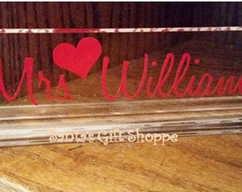 TEACHER'S APPRECIATION GIFT - Teachers Name Plate  - Desk Name Plate - Acrylic Name Desk Plate - Christmas Gift- Acrylic Name Plate