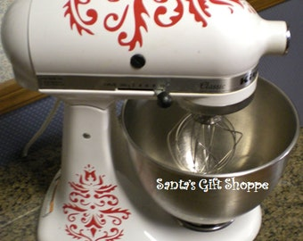 Kitchenaid - Damask Vinyl Decals - Personalized Mixer - Vinyl Decals - Christmas Gift - Kitchenaid mixer decals -Kitchen Update