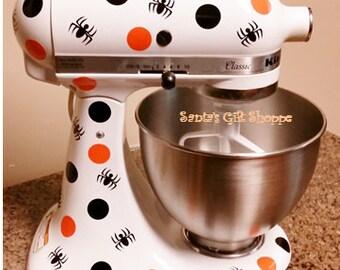 Kitchenaid Halloween Polka Dot & Spider Decals - Vinyl Decals - Personalized Mixer - Kitchen Update