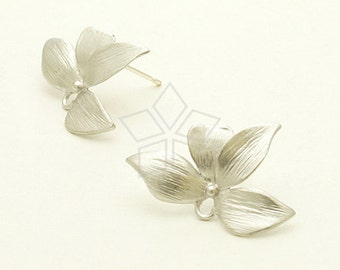 SI-656-MS / 2 Pcs - Wild Orchid Stud Earring, Matte Silver Plated, with .925 Sterling Silver Post / 21mm x 14.5mm