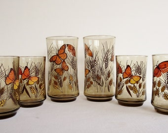 Vintage Libbey Butterfly Glasses - Drinking Glasses - Set of 2 sizes
