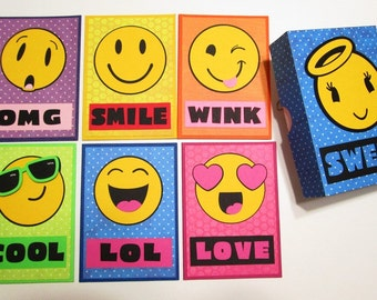 BOXED NoteCard Set - Colorful EMOJI Note Cards and Envelopes including the gift/storage box