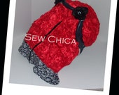 Match Any Car Seat Cover/Infant / Baby Car Seat Canopy/ Zipper Tent / Cover/Red Roses/Damask Minky/2 Bling Flowers -READY TO SHIP