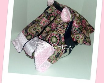 Sale/Infant / Baby Car Seat Canopy/ Zipper Tent / Cover/Light Pink Minky Dot/pink floral/2 Bling Flowers -READY TO SHIP