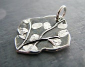 Earth Jewelry, Handmade Fine Silver Pendant, Plant Series, Tranquility, SilverWishes by Kristan