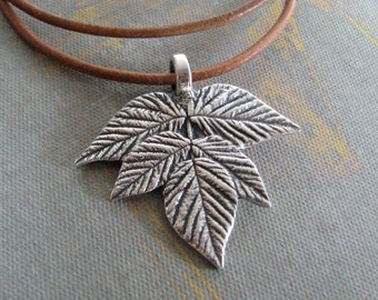 Earth Jewelry, Handmade Fine and Sterling Silver Pendant, Plant Series, Falling Leaves, SilverWishes by Kristan
