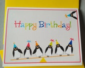 Birthday Card, penguins, Happy Birthday greeting card