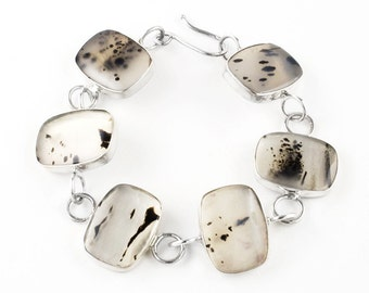 Montana Agate and Sterling Silver Bracelet
