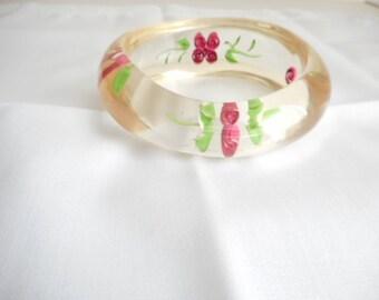 Vintage  Asymmetrical Lucite  Bangle Bracelet