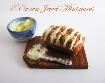 1:12 Pumpkin Nut Bread with Bowl of Pineapple Icing by IGMA Artisan Robin Brady-Boxwell - Crown Jewel Miniatures