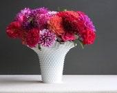 Large Fenton Hobnail Milk Glass Vase - 8 Inch Large Bouquet Broad Mouth