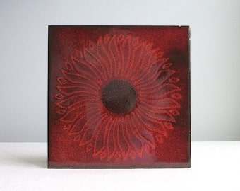 Mid Century Italian Ceramic Tile Trivet - Red Flower Pottery Made in Italy 1960s Decorative Kitchen Hot Plate