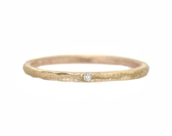 Tiny Diamond Ring, Delicate Engagement Ring, Stacking Rings, Diamond, Gold Band, Midi Ring, Knuckle Ring, Organic Ring, Hammered Ring, Nixin