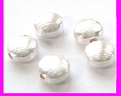 10pcs 6.5mm bright shiny solid 925 Sterling Silver brushed round flat coin Bead Spacer B146