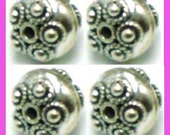 4pcs 8mm x 6.5mm oxidized solid 925 Sterling Silver roundel Bead Spacer B36
