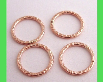 10pcs 10mm 14k ROSE gold filled patterned round jump ring hoop small soldered texture RR21