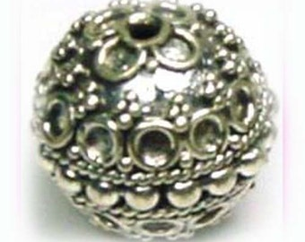 13mm Sterling Silver Round Ornate Bead B67