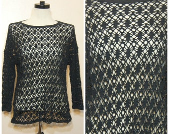 90s Black Crochet Sweater Medium Large Sheer Open Knit Goth Boho Stevie Nicks Witchy