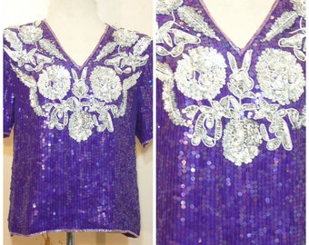 70s 80s Purple Silver Sequin Top Blouse Small Medium Flapper Beaded Shirt Party