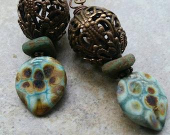Lampwork Turquoise Leaf earrings, brass, speckled, Vintaj, rustic, boho, Czech glass, blue