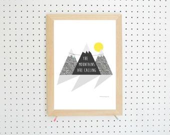 Digital Download Mountains Nursery Printable A4