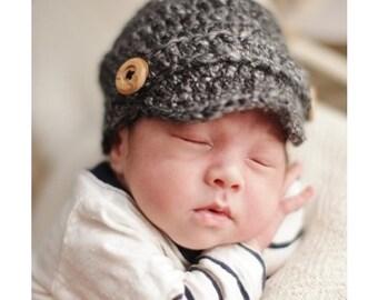 Crochet Baby Newsboy Hat, Newborn Newsboy Cap, Baby boy Hat, Baby Newsgirl Hat, Choose Any Color, Preemie - 6 Months, Newborn Photo Prop