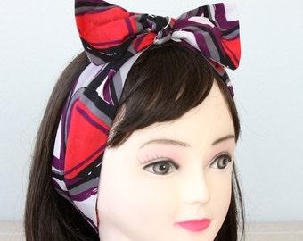 Top knot headband vintage style cotton headband rockabilly headband self tie headband adult headband woman bow tie headband fabric headband